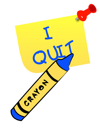 quit: thumb tacked note with message - I quit - vector