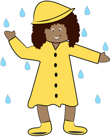 puddle: ethnic girl in rain coat playing in the rain - vector