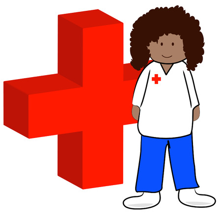 ethnic first aid worker with symbol - vector Vector