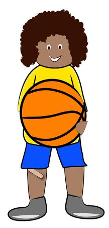 recess: ethnic boy holding basketball