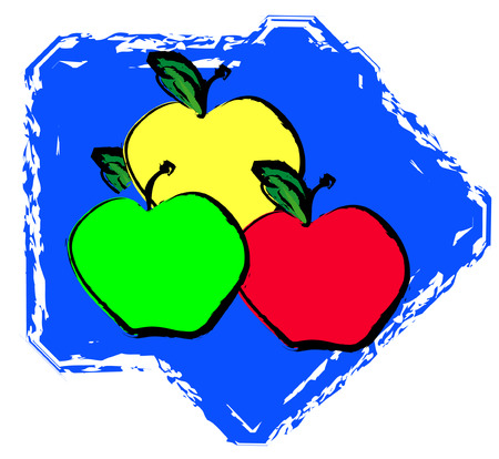 yellow apple: red green and yellow apple varieties on blue background - vector