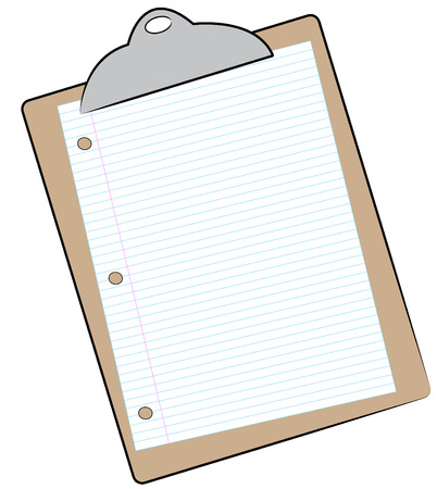 clipboard with sheet of lined paper attached - vector Vector
