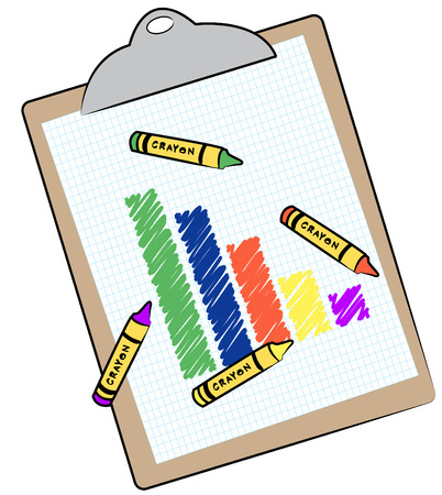 bar graph and crayons on clipboard - vector Vector