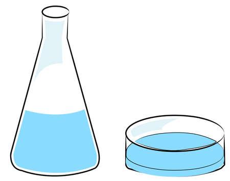 flask or beaker and petri dish - vector Illustration