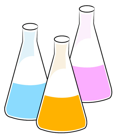 toxic substance: three flasks with different chemical solutions - vector
