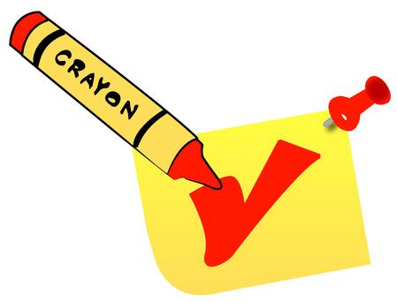 wax crayon making check mark on thumb tacked note - vector Vector