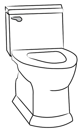 toilet bowl: white toilet with the seat left open - vector