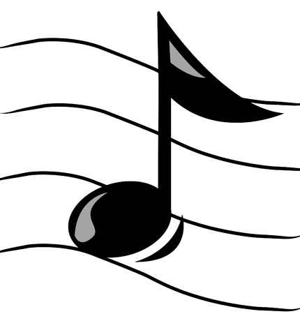 musical note: musical note on staff - vector image