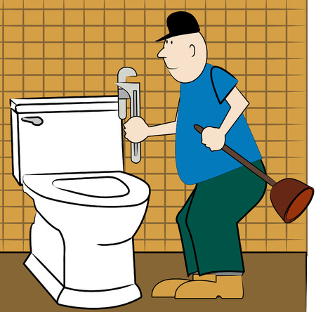 adjusting screw: handyman or plumber fixing broken toilet - vector