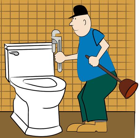 handyman or plumber fixing broken toilet - vector