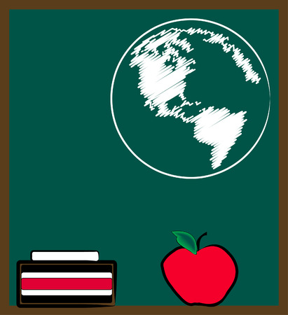 geography: chalkboard or black board with earth - geography lesson  - vector