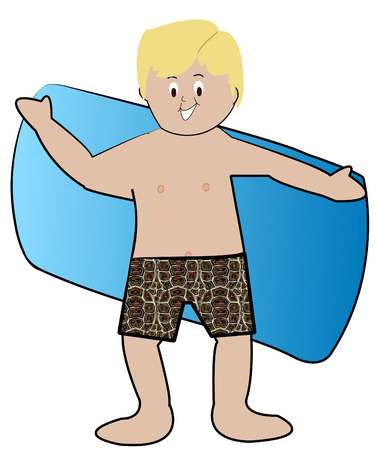 bathing suit: blond boy in swim trunks drying off with towel - vector Illustration