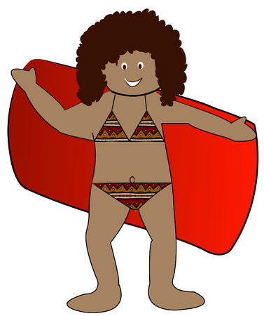 little girl bath: ethnic girl drying off with towel in bikini bathing suit - vector