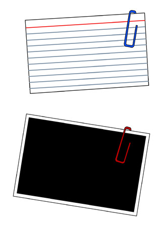 thumb tack: blank index cards and photo frames with paper clips - vector
