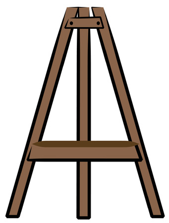 brown wooden craft or art easel - vector Illustration