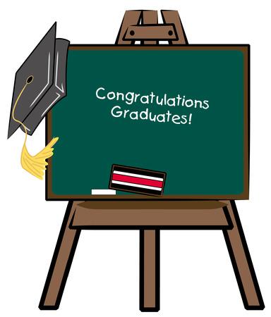 gorro de graduacion: caballete pizarr�n con la graduaci�n tope - felicitaciones graduados - vector