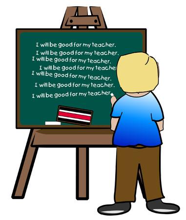 punishing: chalkboard easel with naughty boy writing lines - vector