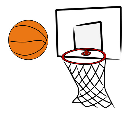 hoops: basketball being shot into hoop of basketball net - vector