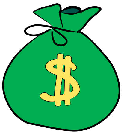 bag of money with dollar sign on front - vector