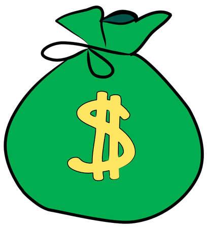 bolsa de dinero con el signo de d�lar en la parte frontal - vector  Foto de archivo - 2642212