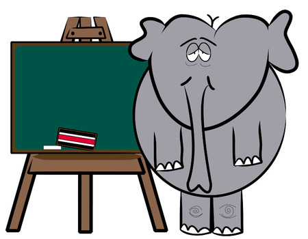 recess: elephant student or teacher at chalkboard Illustration