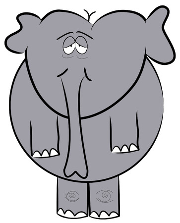 droopy: droopy eyed elephant standing up - cartoon - vector Illustration