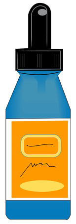 toxic substance: eye dropper style bottle with orange label - vector