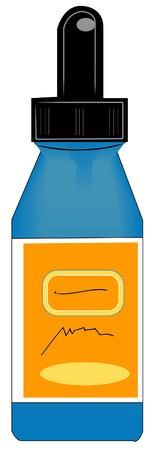 inmersion: ojo gotero estilo botella con la etiqueta naranja - vector