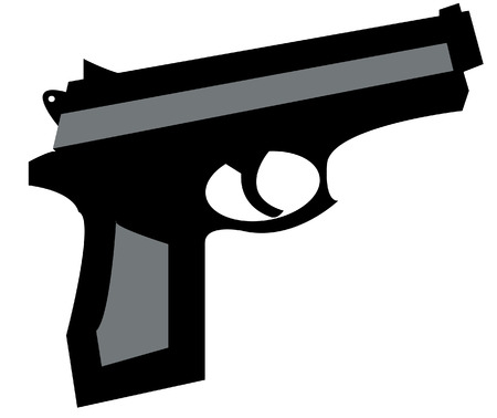 robbery: small hand gun in black and grey - vector illustration