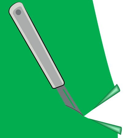 precision: precision knife cutting piece of green paper - vector
