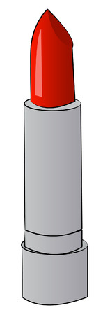 lipstick tube: tube of red lipstick with silver case - vector Illustration