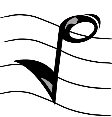 sheet music: musical note on staff - vector image
