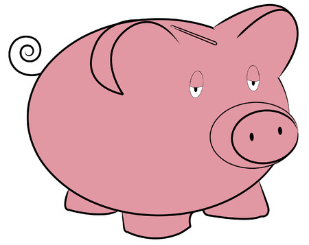 savings account: pink piggy bank with tired expression - vector