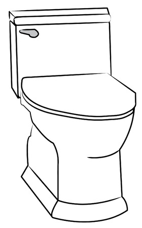 white toilet with silver flush handle - vector Vector