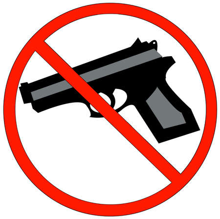 gun barrel: hand guns prohibited or not allowed sign - vector Illustration