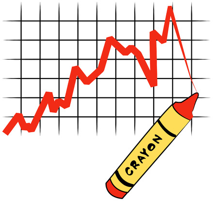 red crayon drawing line graph on grid - vector Vector