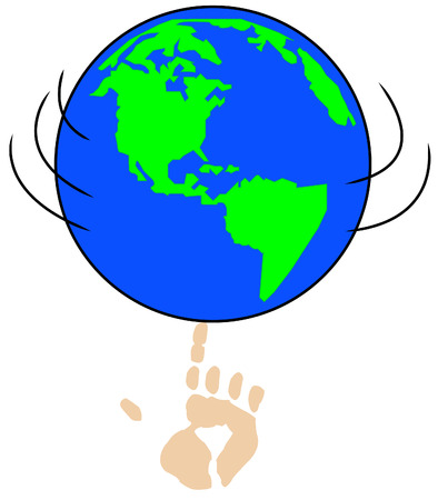 fingertip: globe or world spinning on pointed finger - concept in control - vector