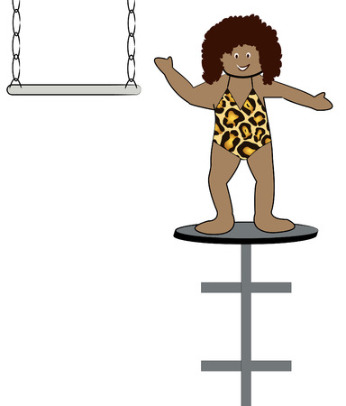 trapeze: ethnic woman performing in circus on flying trapeze - vector