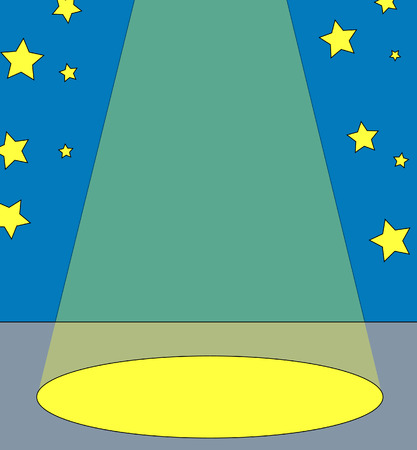 spot: spot light on center stage with stars in the background - vector