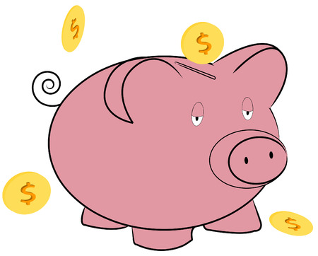 savings account: pink piggy bank with coins falling around it - vector