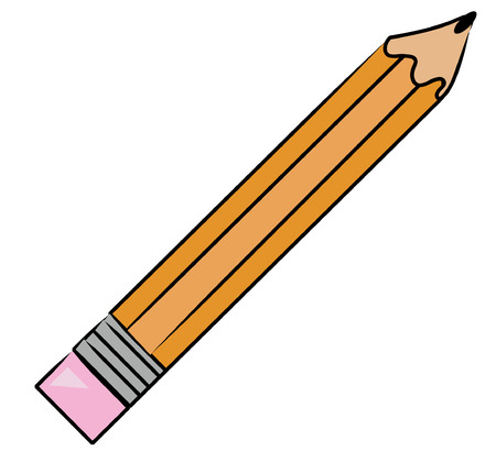 cartoon illustration of yellow lead pencil - vector Illustration