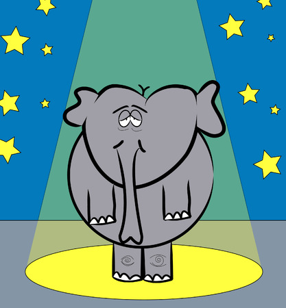 tired eyes: large elephant with tired eyes performing under the spotlight - vector