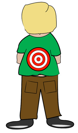 bully: young boy with target on his back - bullying - vector
