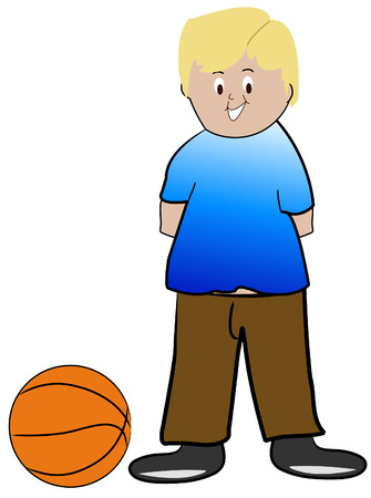 recess: blond boy with basketball - vector illustration