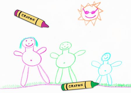 childrens happy  drawing with wax crayons Stock Photo - 2650300
