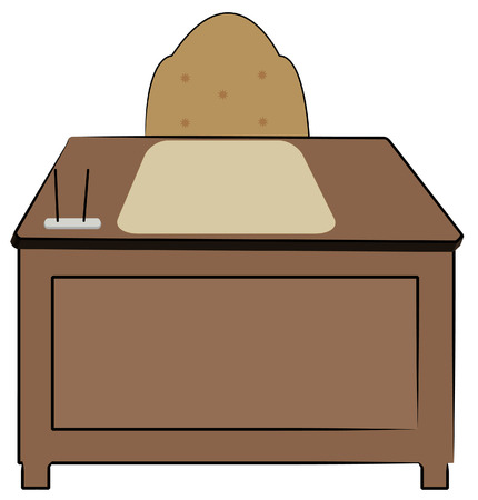 office desk: wood desk with office chair and stationary supplies - vector
