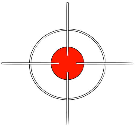 탄약: gun target or cross hairs with red mark - vector 일러스트