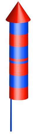 trajectoire: 3d rouge et bleu style fus�e p�tard - vecteur