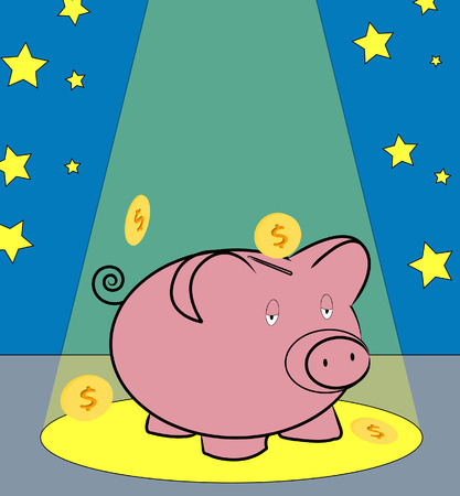 windfall: piggy bank with coins falling around in spotlight - concept financial windfall - vector