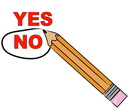 yes or no: pencil choosing no and circling it - vector Illustration